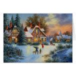 Tiempo del juego del invierno del navidad tarjeta