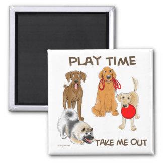 Tiempo del juego del perrito imán cuadrado
