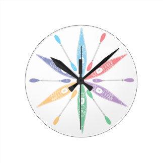 Tiempo del kajak relojes de pared