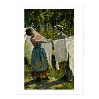 Tiempo del lavado en la mota, vintage de Montana Postal