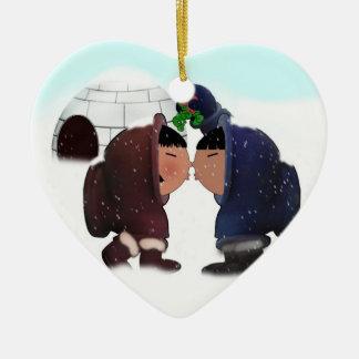Tiempo del muérdago - beso del muérdago adorno de cerámica en forma de corazón