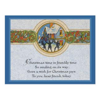 Tiempo del navidad del vintage postales
