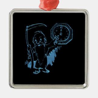 Tiempo del padre con la guadaña y el reloj ornamento para arbol de navidad