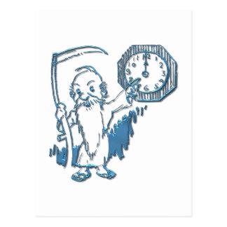 Tiempo del padre con la guadaña y el reloj tarjeta postal