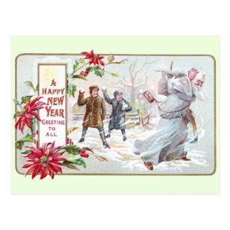 Tiempo del padre lanzado con las bolas de nieve tarjeta postal
