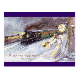 Tiempo del padre y Año Nuevo del vintage del tren Tarjetas Postales