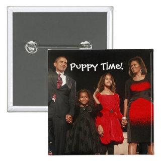 Tiempo del perrito para los chicas de Obama Pin Cuadrado