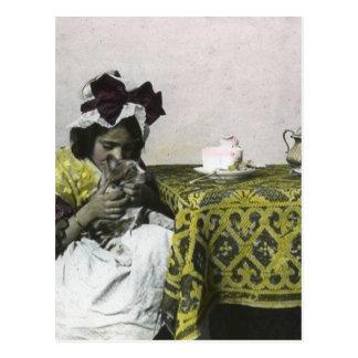 Tiempo del pezón del chica del Victorian con el Postales