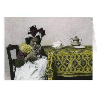 Tiempo del pezón del chica del Victorian con el Tarjeta De Felicitación