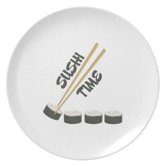 Tiempo del sushi plato de comida