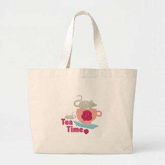 Tiempo del té bolsa tela grande