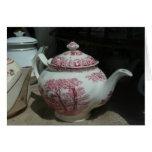 Tiempo del té con la tetera inglesa - tarjeta de felicitación