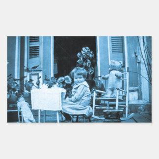 Tiempo del té con los amigos (azul entonado) pegatina rectangular