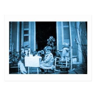 Tiempo del té con los amigos (azul entonado) tarjetas postales