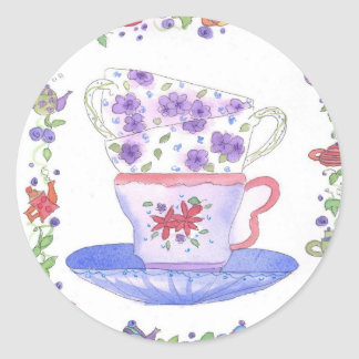 Tiempo del té de la pila de la taza de té pegatina redonda