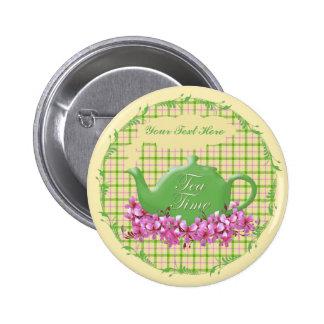 Tiempo del té de la tela escocesa de la primavera pin redondo 5 cm