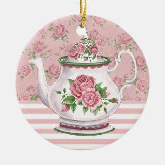 Tiempo del té adorno redondo de cerámica