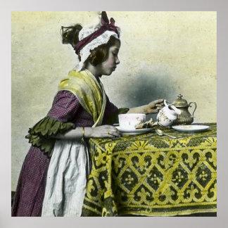 Tiempo del té del vintage de la niña del Victorian Póster