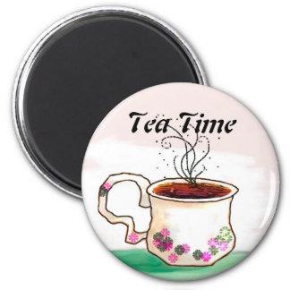 Tiempo del té - hora para esa taza de té imán redondo 5 cm