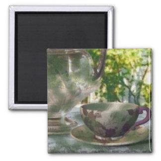 Tiempo del té iman de frigorífico