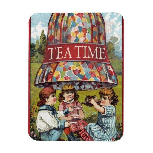 Tiempo del té imanes rectangulares