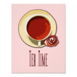 Tiempo del té invitación 10,8 x 13,9 cm
