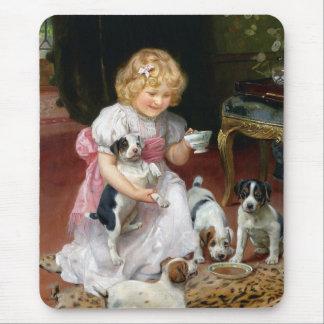 Tiempo del té para el arte del perro del vintage alfombrillas de ratones