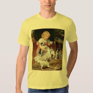 Tiempo del té para el arte del perro del vintage camisas
