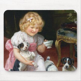 Tiempo del té para el arte del perro del vintage d tapete de ratones