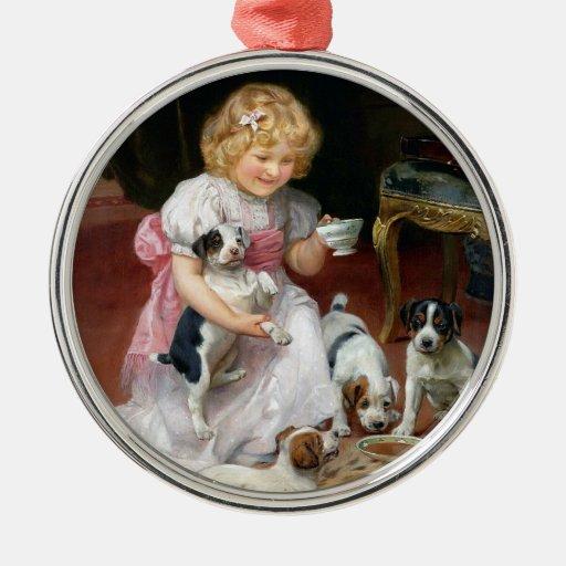 Tiempo del té para el arte del perro del vintage adorno