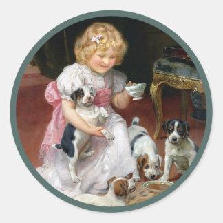 Tiempo del té para el arte del perro del vintage pegatina redonda