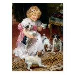 Tiempo del té para el arte del perro del vintage postal