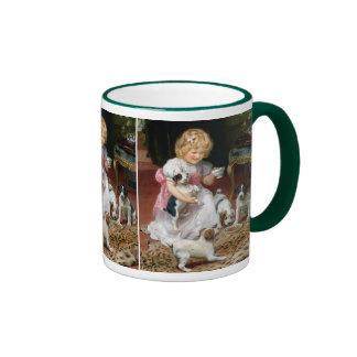 Tiempo del té para el arte del perro del vintage taza de dos colores