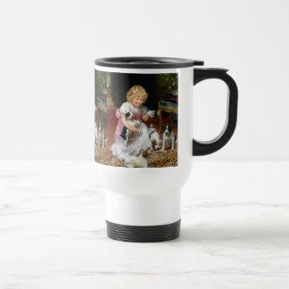 Tiempo del té para el arte del perro del vintage taza de viaje