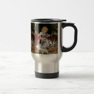 Tiempo del té para el arte del perro del vintage taza térmica