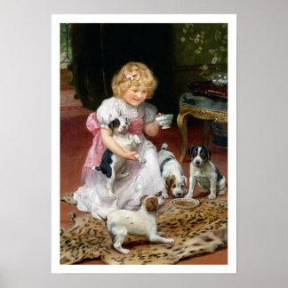 Tiempo del té para la impresión del perro del vint póster