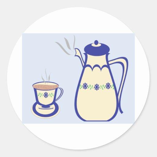 Tiempo del té pegatina redonda