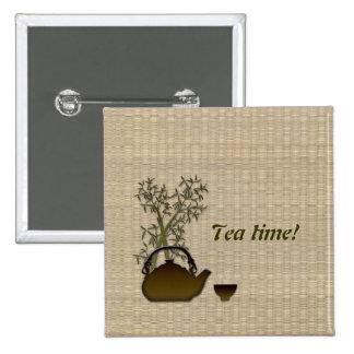 ¡Tiempo del té! Pin Cuadrado