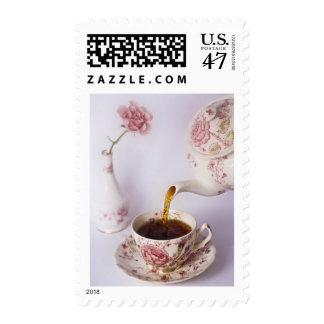 Tiempo del té sello postal