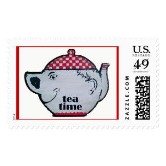 Tiempo del té sellos postales