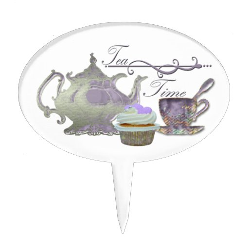 ¡Tiempo del té! Tetera de la lila, taza de té y ar Decoración Para Tarta