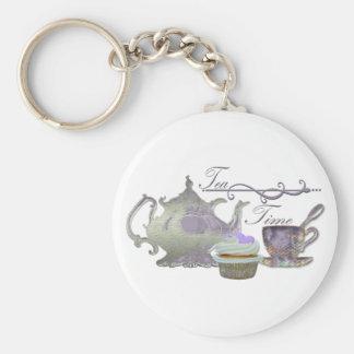 ¡Tiempo del té! Tetera de la lila, taza de té y ar Llaveros