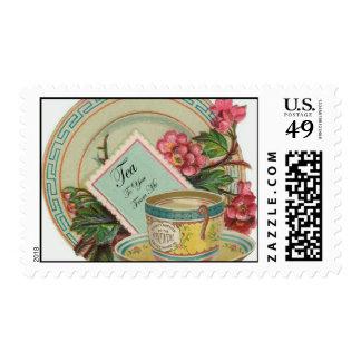 Tiempo del té timbres postales