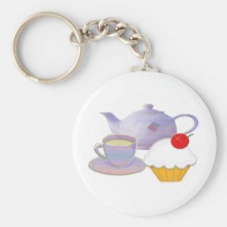 Tiempo del té y arte de la magdalena de la cereza llavero redondo tipo pin