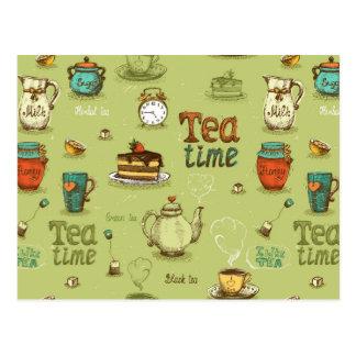 Tiempo del té y del té de la miel en verde postales