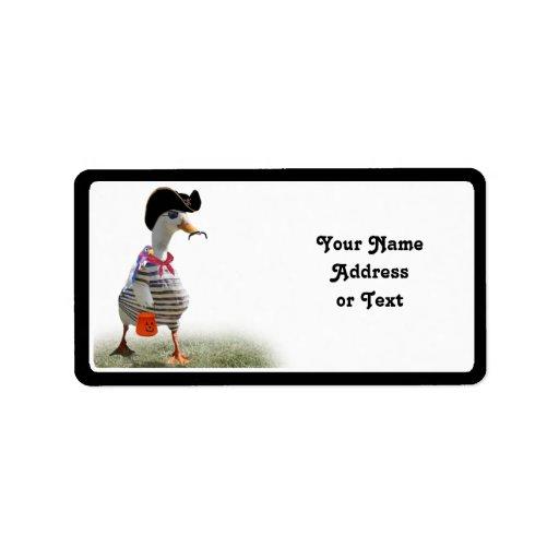 Tiempo del truco o de la invitación para el pato d etiquetas de dirección