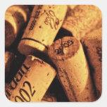 Tiempo del vino pegatina cuadrada