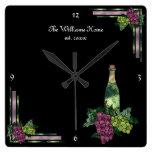 Tiempo del vino personalizado relojes de pared