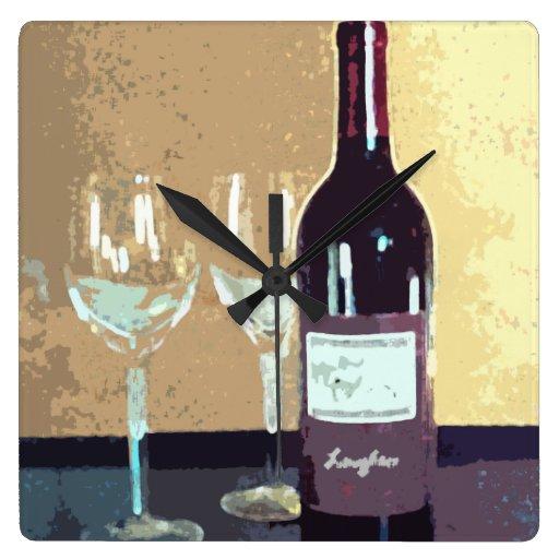 Tiempo del vino reloj cuadrado