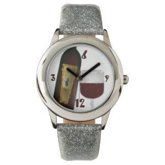 Tiempo del vino rojo relojes de pulsera